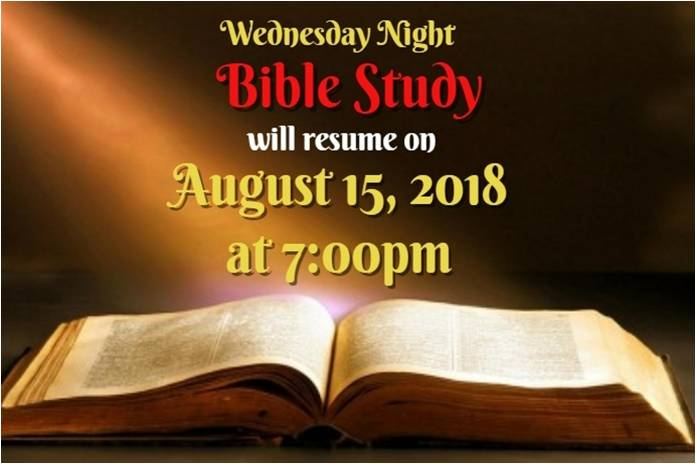 BIBLE STUDY ~ August 15, 2018